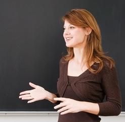 Pretty young blond teacher